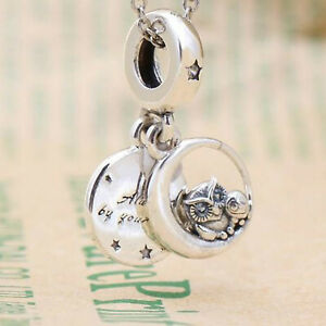 GENUINE .925 STERLING SILVER ALWAYS BY YOUR SIDE OWL Pendant Dangle CHARM BEAD