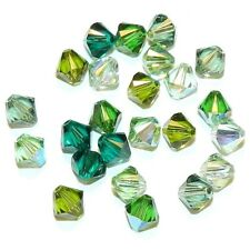 SCB5521 Ireland Mix Green 6mm Bicone Swarovski Crystal Bead Assortment 24pc