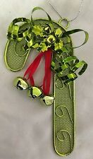 """Green Metal 6"""" Candy Cane Bell Ornament Figurine"""