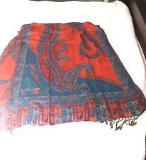 Huge Cashmere Blend Shawl Wrap in Sienna Teal Blue Brick Red Design Nepal