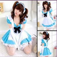 Damen Maid Costume Cosplay Kostüm Dienerin/maidservant Uniform Dress Kleid Blau