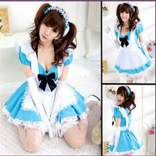 Damen Blau Maid Costume Cosplay Kostüm Dienerin/maidservant Uniform Dress Kleid