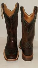 Twisted X Women Choc/Turq Leather Cowgirl Boot Square Toe Sz7M WRR0002 New W/Tag