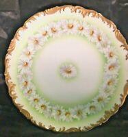 "Vintage LIMOGES T.V. FRANCE DEPOSE Hand Painted Daisies Plate 9 3/8"" Gold  Trim"