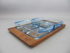 60s Dip Schalen mit Teak Tablett, Snack Schalen in blau - Danish Design