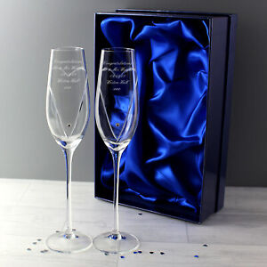 Personalised Pair of Flutes Made With Swarovski Elements In A Gift Box