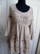 MONORENO CAPE SLEEVED TUNIC TOP SOFT BROWNS-Embroidered-RAYON SZ LARGE