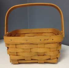 LONGABERGER 1999 Tan Woven Wood Wicker Square Basket With Foldable Handle SR