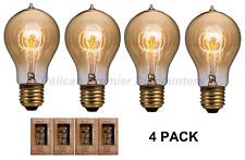 4 PACK 60W Amber A19 Bulbs Vintage Edison Heritage Series Standard Base