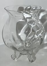 Vintage Swirl Clear Glass Bowl 3 Footed Vase Floral Decor 8""