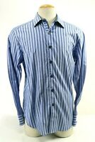 Robert Graham Men's Dress Shirt Flip Cuff Size Large Blue Striped Excellent