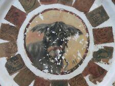 art populaire peinture ancienne âne dans assiette timbres collé souvenir voyages