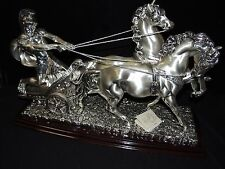 Magnificent Laminato Argento Silver on Cold Porcelain Figurine of Chariot - 15""