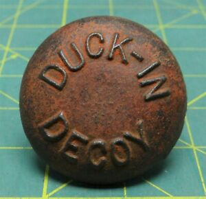 "Antique ""Duck-In Decoy"" Cast Iron Duck Goose Decoy 3.6 oz Weight Anchor 2-1/8""D"