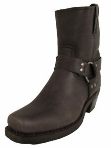 $358 Frye Womens Harness 8R Pull On Square Toe Boots, Smoke, US 8.5