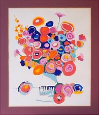Abstract Floral Serigraph Print by William McCauley Fauvist Mid Century Modern