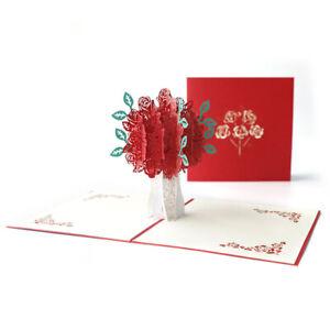 Rugosa Rose Pop Up Greeting 3D Card Gift Valentine Anniversary Wedding Birthday