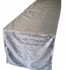 Large Silver Sequin Table Runners 2.4m Perfect For Weddings And Events Or Home.