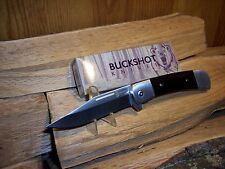 "Buckshot Classic 4.5"" Assisted Open Knife Stainless Steel Blade Blk Wood Handles"