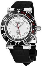 Charriol Men's Rotonde Silver Dial Rubber Strap GMT Quartz Watch RT42DIVB142D02