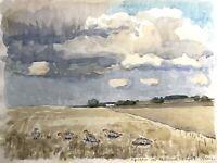 Karl Adser 1912-1995 Rebhühner auf dem Feld Acker Flachlandschaft Dänemark