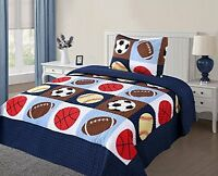Twin Size 2 Pcs Quilt Bedspread Set Kids Sports Basketball Football Baseball Boy