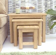 Mobel solid oak furniture nest of three coffee tables set and felt pads