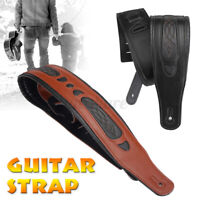 Long Leather Guitar Strap Acoustic Electric Guitar Bass Adjustable Thick