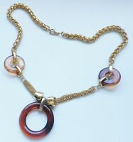 collier bijou rétro couleur or rhodié maillon style palmier cercle ambré  4726