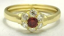 SPESSARTINE GARNET & WHITE SAPPHIRE RING 10k GOLD * Free Shipping