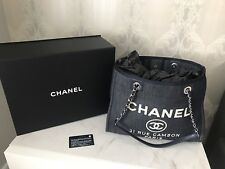 Auth CHANEL Deauville Denim Navy Tote Shoulder Bag  2017
