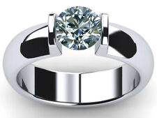 Moissanite Diamond Solitaire 925 Silver Ring 1.04 Ct Vvs1;=Round Blue White Real