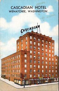 Linen Postcard Cascadian Hotel in Wenatchee, Washington~3447