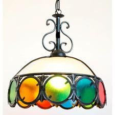 Grande lámpara de araña hierro forjado con gafas colorido