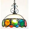 Grande lampadario in ferro battuto con vetri colorati