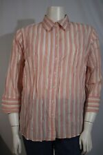 61692c6efb6 Westbound Woman Plus 20W Pink White Stripe 3 4 Sleeve Button Front Blouse  Shirt