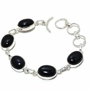 "Black Onyx Gemstone Handmade 925 Sterling Silver Bracelet 7-8"""