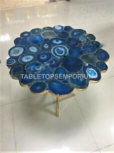 Marble Blue Top Coffee Table Agate Precious Stone Inlay Cafeteria Decorative Art