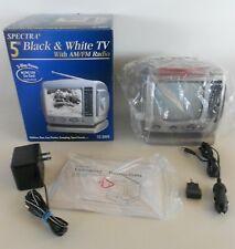 """Spectra Mini TV, 5"""" Portable B&W TV w/ AM/FM Radio in Box, Complete MPN: 52-BWR"""