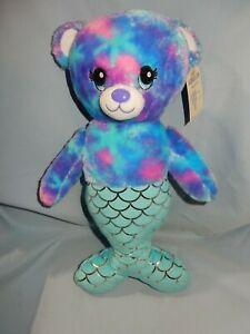 "Build A Bear Mermaid Bear Mer-Bear Tie Dye blue purple pink with tags 16"""