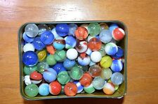 Vintage Tin Of Glass Marbles