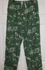 GREEN FOOTBALL PRINTED FLANNEL LOUNGE SLEEP PANTS, MENS LARGE, # 476