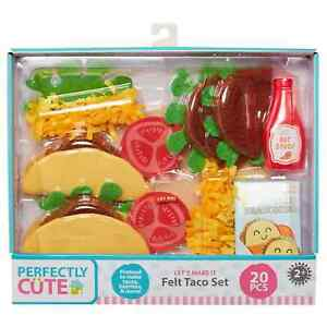 Perfectly Cute 20 Piece Felt Taco Food Set - Ages 2+ (For Play Use Only)