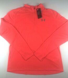 UA Mens XLarge Sunset Red Streaker 2.0 Heatgear 1/2 Zip LS Running Jacket NWT