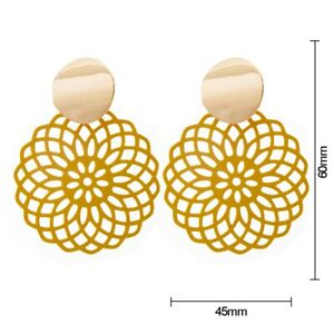 Hollow Round Gold Stud Earrings for Women Gils Retro Jewelry Yoga Chakra Ear