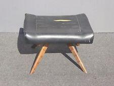 Vintage Mid Century Modern Footstool Bench Ottoman Black w Peg Legs As Is
