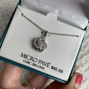 THE SILVER LINING Micro Pave CZ Silver Plated Necklace Love Knot NEW In Box $60