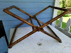 Vintage Shabby Brass Hollywood Regency Bamboo Hotel Room Luggage Stand Rack
