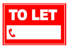 TO LET - Red with space - Sign Label Self Adhesive Vinyl Waterproof Sticker x 2