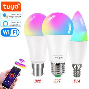 E27 B22 E14 Tuya Wifi LED RGB+CW+WW Light Bulb Smart Dimmable lamp 18W 15W 10W